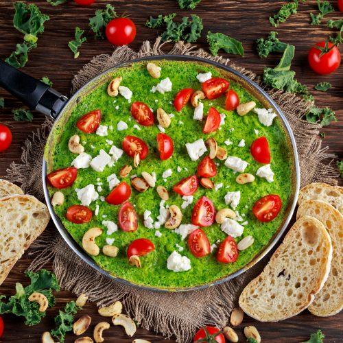 blended green omelette wrap